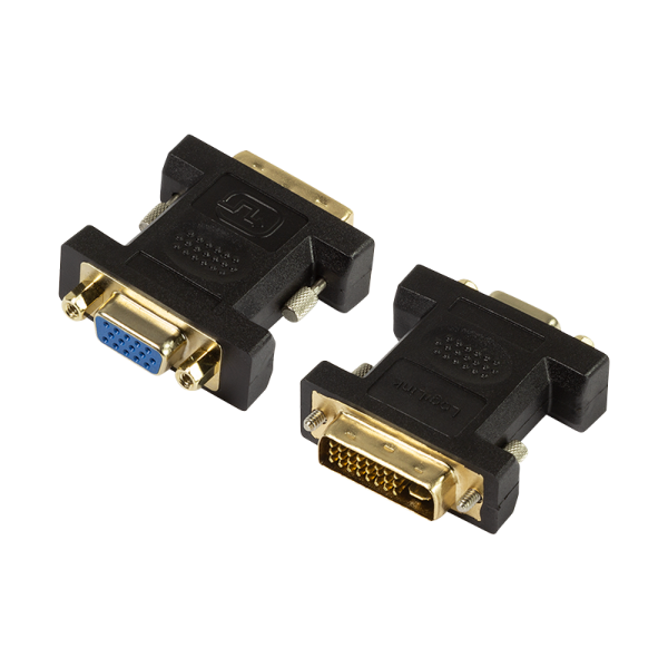 DVI-Adapter, DVI-I/M zu VGA/F, 1080p, schwarz