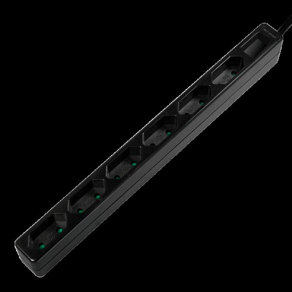 Steckdosenleiste 6-fach, schmal, 1,5m, schwarz