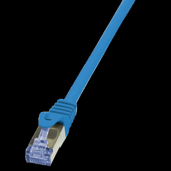 Patchkabel Cat.6A 10G S/FTP, PIMF, PrimeLine, blau, 0,25m