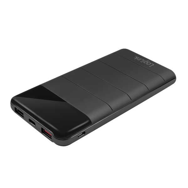Powerbank 10000 mAh, Lithium-Polymer, 3x USB, schwarz, QC