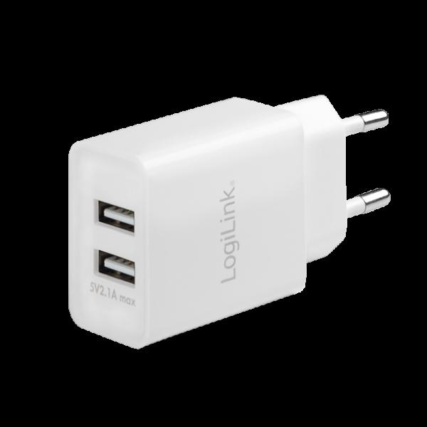 USB Steckdosenadapter, 2x USB-Port, 10.5W, weiß