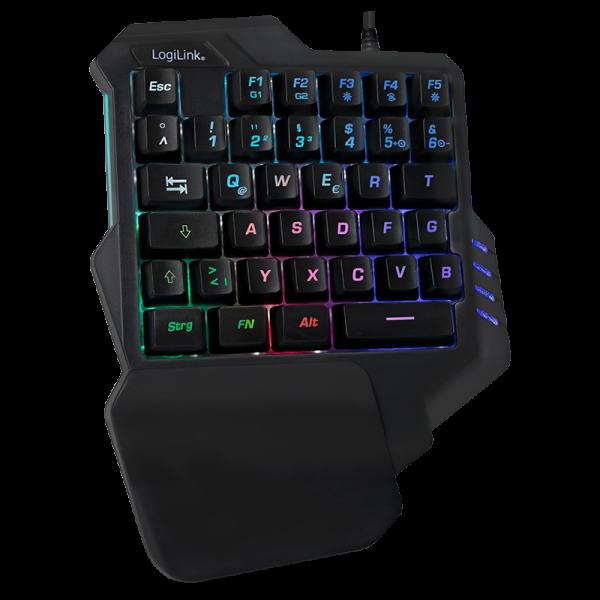 Beleuchtete Einhand-Gaming Tastatur, schwarz