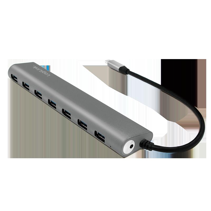 USB 3.2 Gen 1x1 USB-C 7-Port Hub, mit Aluminiumgehäuse ...