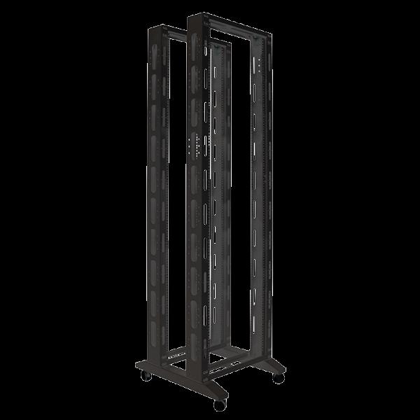 """19"""" Offenes Rack, 42HE Rahmen zweifach, 600 x 700 mm, schwarz"""